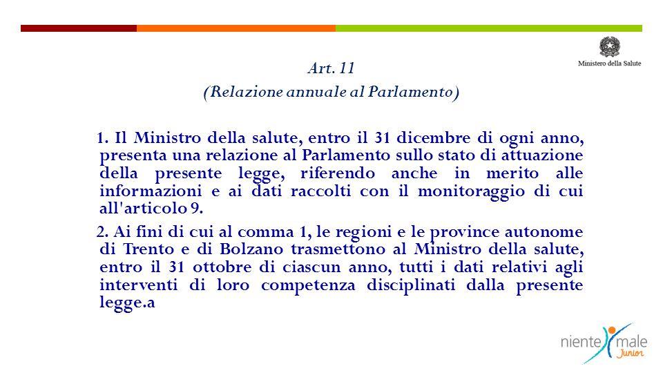 Art. 11 (Relazione annuale al Parlamento) 1