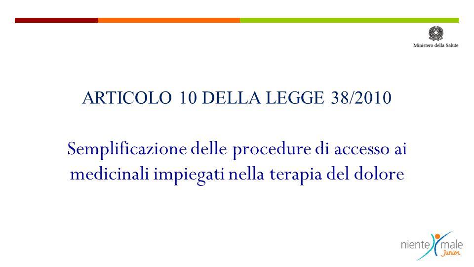 ARTICOLO 10 DELLA LEGGE 38/2010 Semplificazione delle procedure di accesso ai medicinali impiegati nella terapia del dolore.