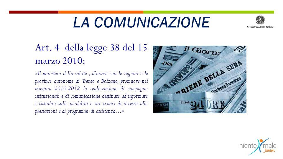 LA COMUNICAZIONE Art. 4 della legge 38 del 15 marzo 2010: