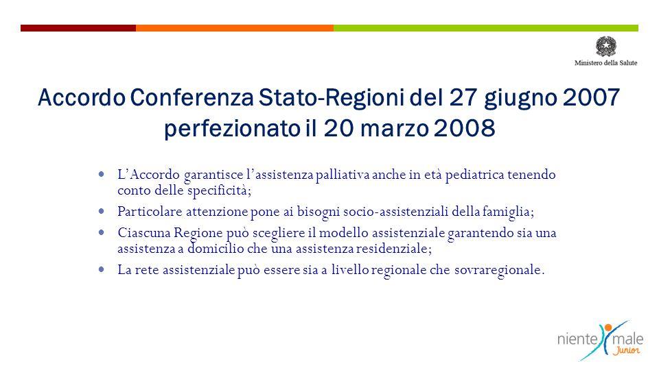 Accordo Conferenza Stato-Regioni del 27 giugno 2007 perfezionato il 20 marzo 2008