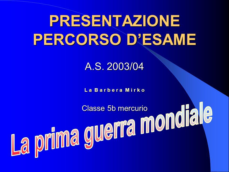PRESENTAZIONE PERCORSO D'ESAME