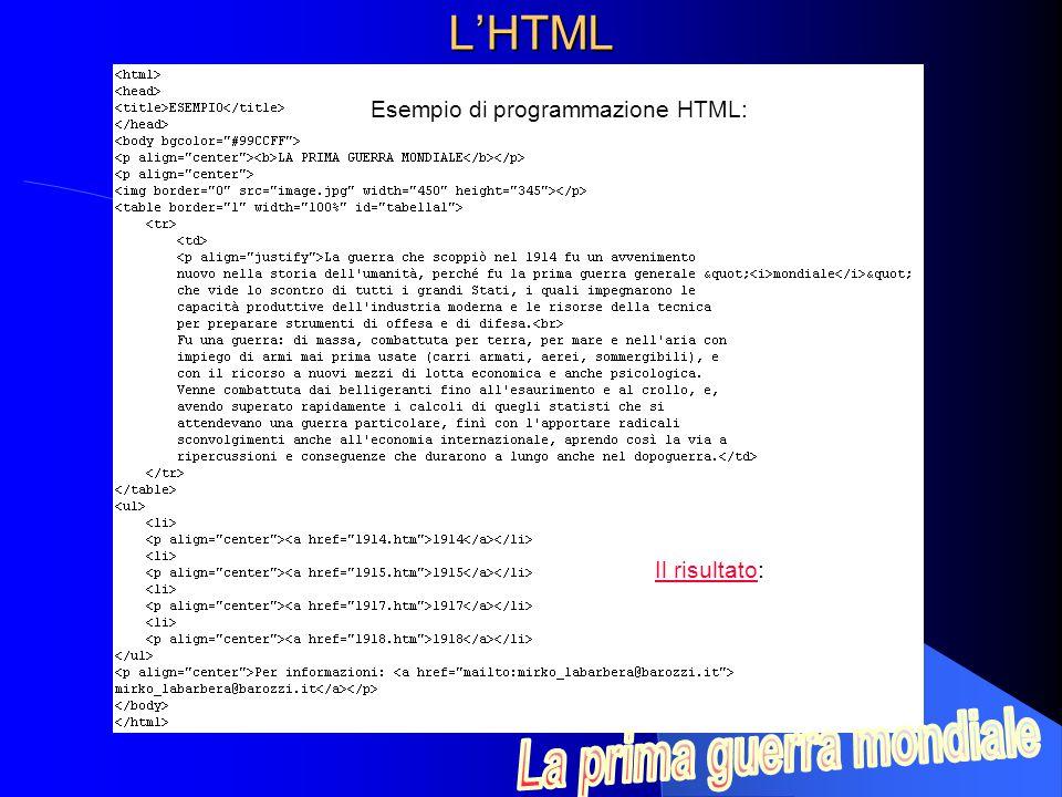 Esempio di programmazione HTML:
