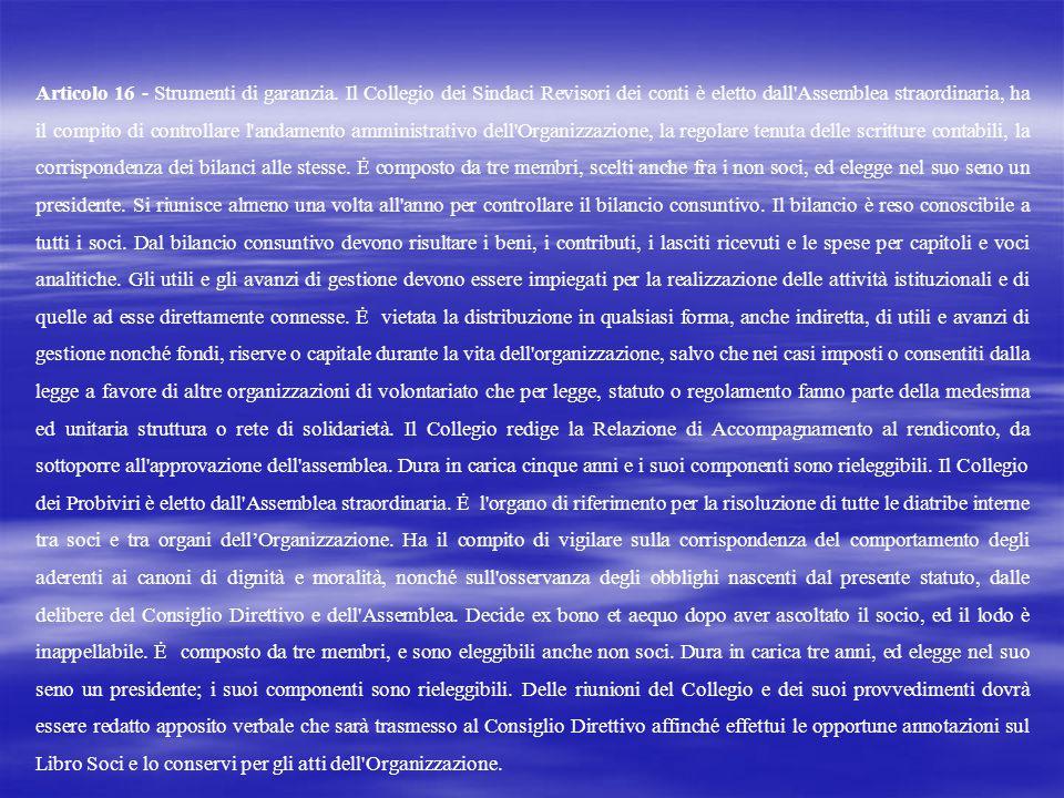 Articolo 16 - Strumenti di garanzia