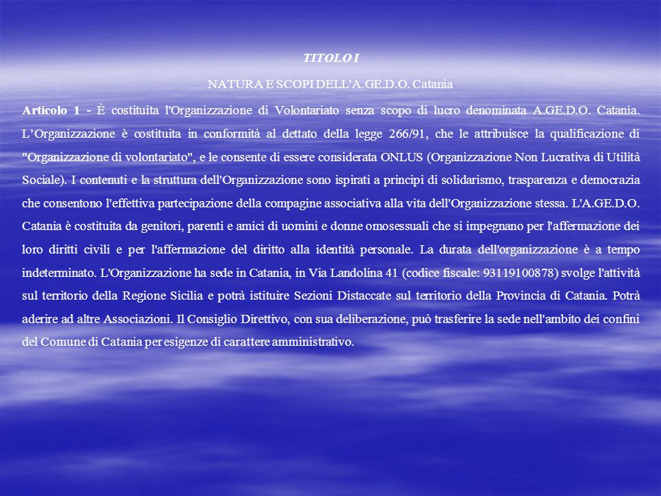 NATURA E SCOPI DELL A.GE.D.O. Catania