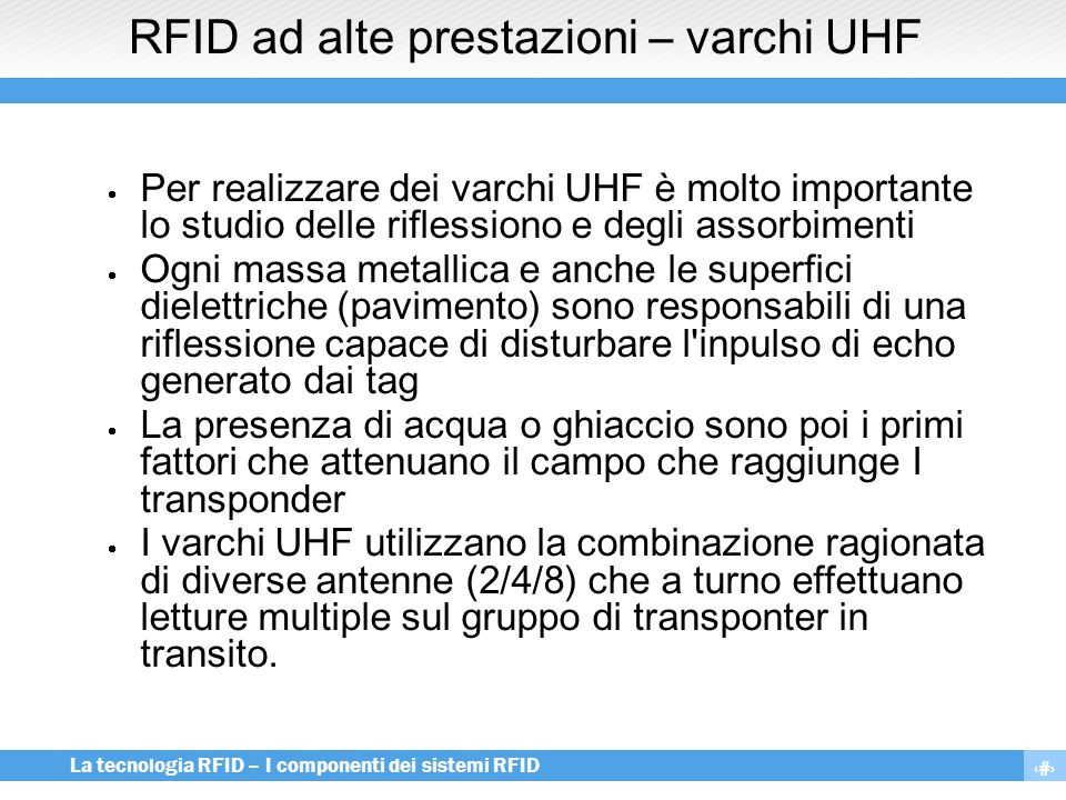RFID ad alte prestazioni – varchi UHF