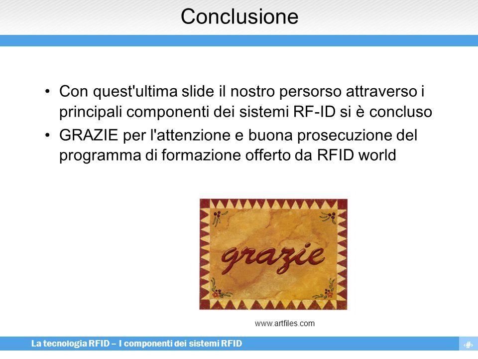 Conclusione Con quest ultima slide il nostro persorso attraverso i principali componenti dei sistemi RF-ID si è concluso.