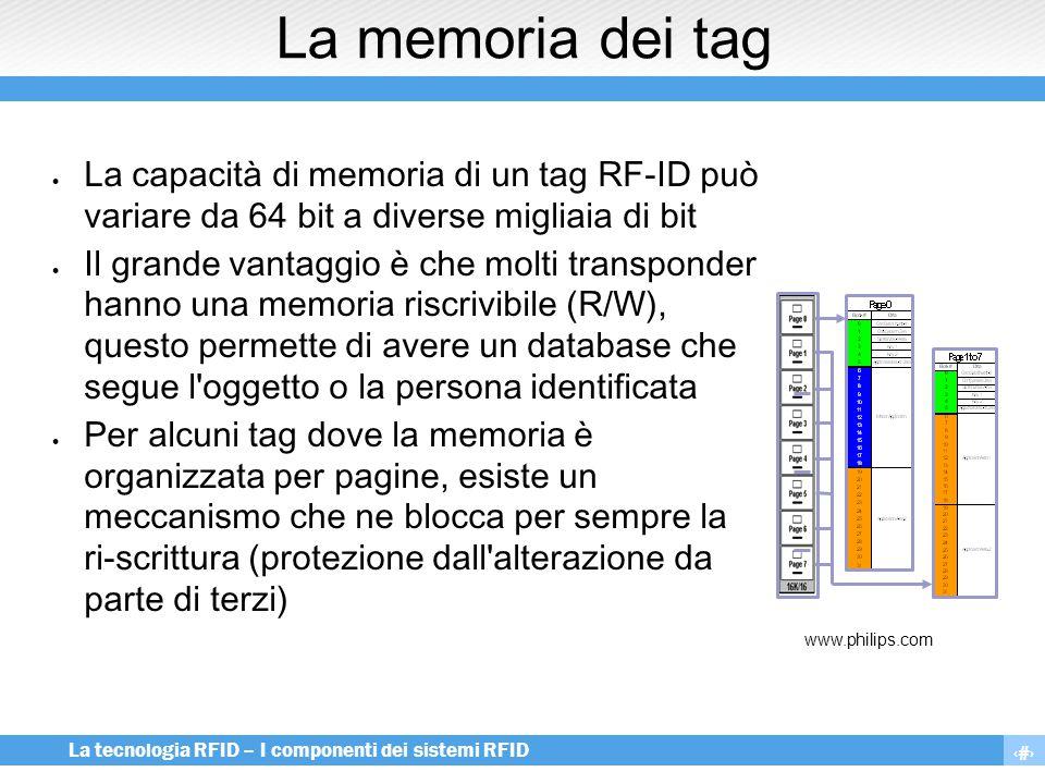 La memoria dei tag La capacità di memoria di un tag RF-ID può variare da 64 bit a diverse migliaia di bit.