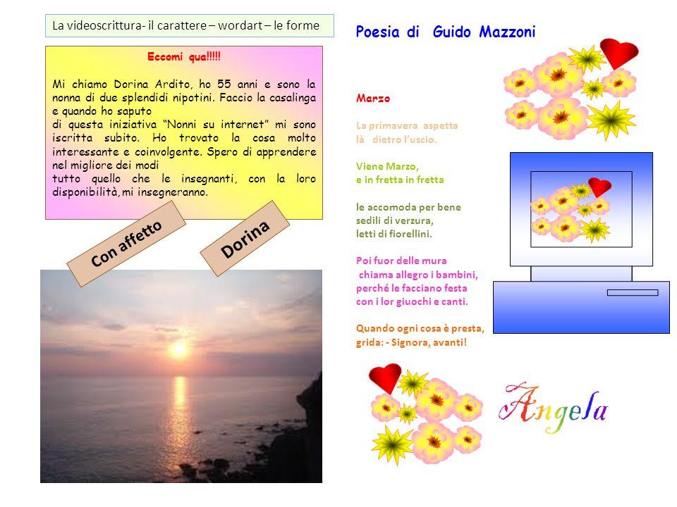 Angela Dorina Con affetto Poesia di Guido Mazzoni