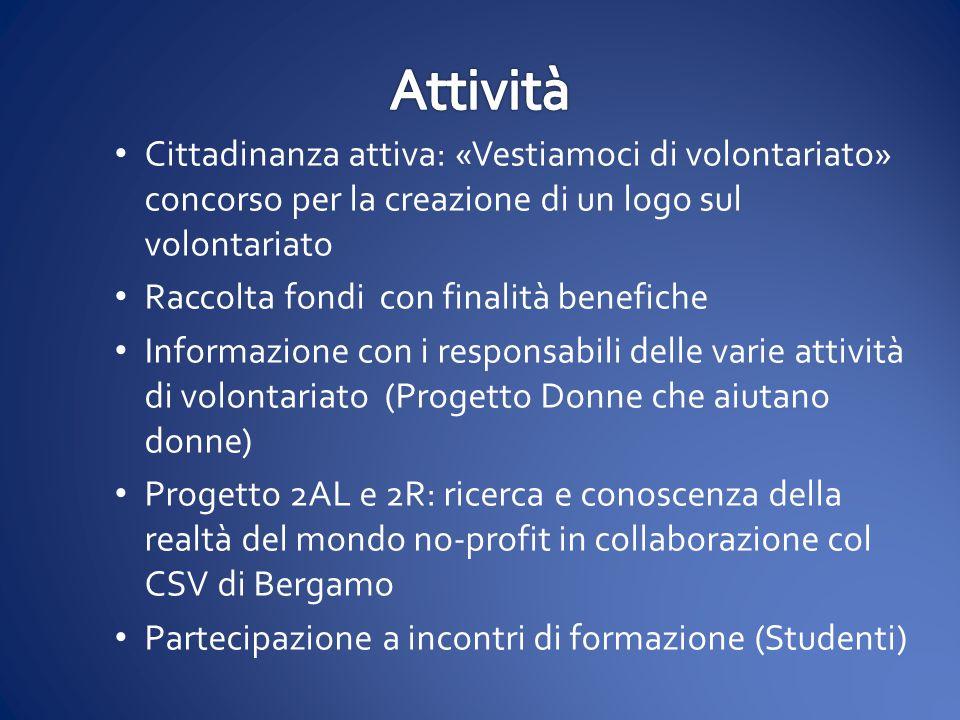 Attività Cittadinanza attiva: «Vestiamoci di volontariato» concorso per la creazione di un logo sul volontariato.