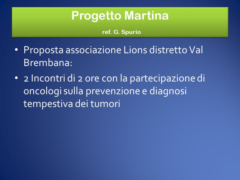 Progetto Martina ref. G. Spurio