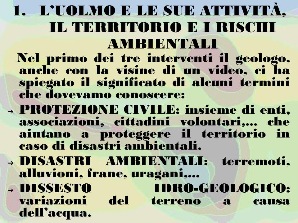 L'UOLMO E LE SUE ATTIVITÀ, IL TERRITORIO E I RISCHI AMBIENTALI