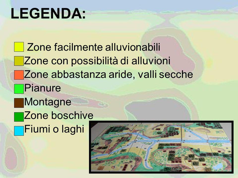 LEGENDA: Zone facilmente alluvionabili