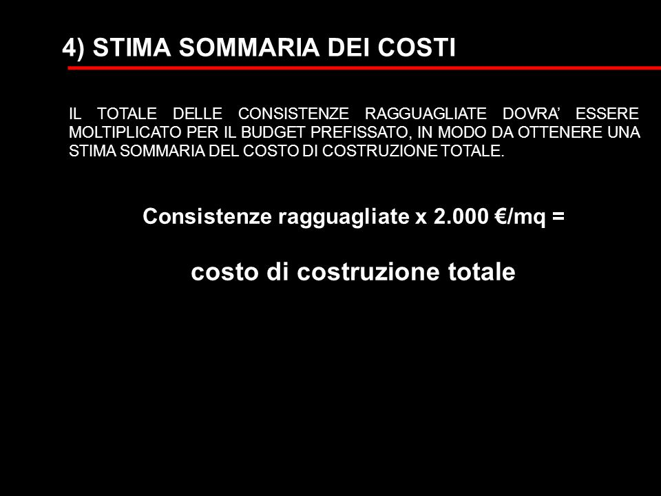 Consistenze ragguagliate x 2.000 €/mq = costo di costruzione totale