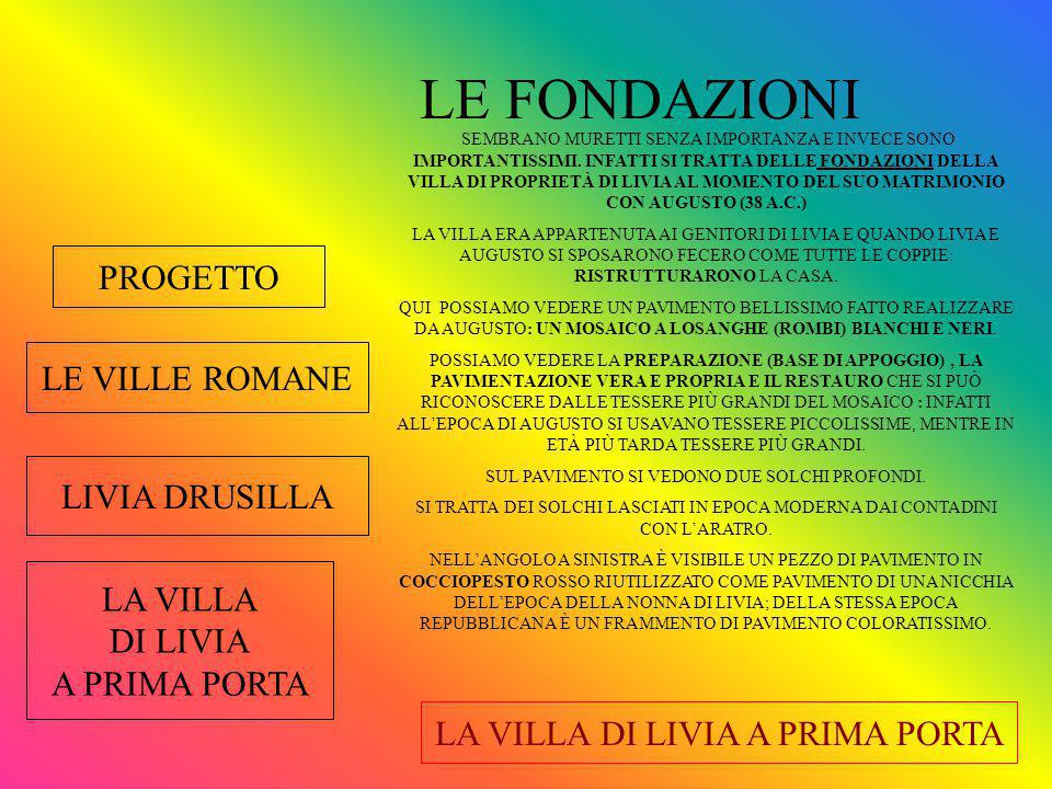 LE FONDAZIONI PROGETTO LE VILLE ROMANE LIVIA DRUSILLA LA VILLA
