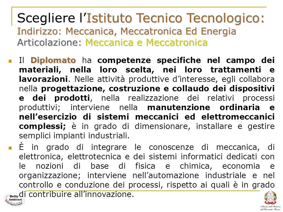 Scegliere l'Istituto Tecnico Tecnologico: Indirizzo: Meccanica, Meccatronica Ed Energia Articolazione: Meccanica e Meccatronica