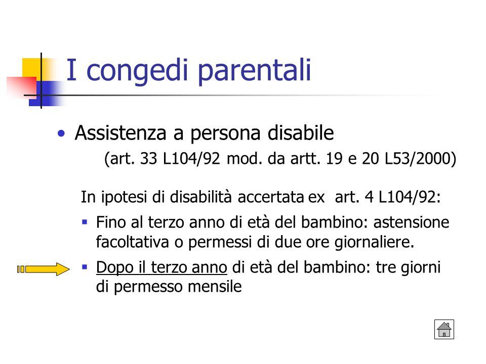 I congedi parentali Assistenza a persona disabile