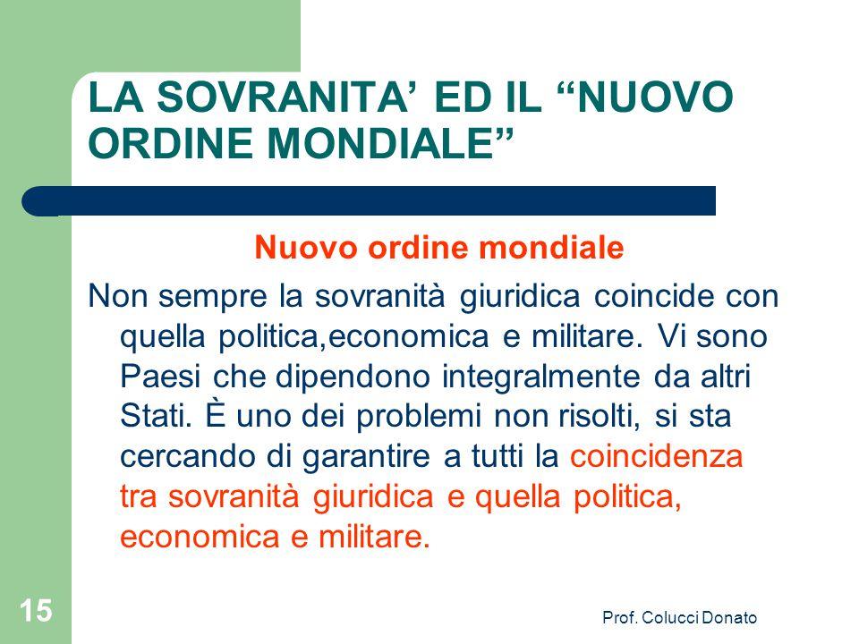 LA SOVRANITA' ED IL NUOVO ORDINE MONDIALE