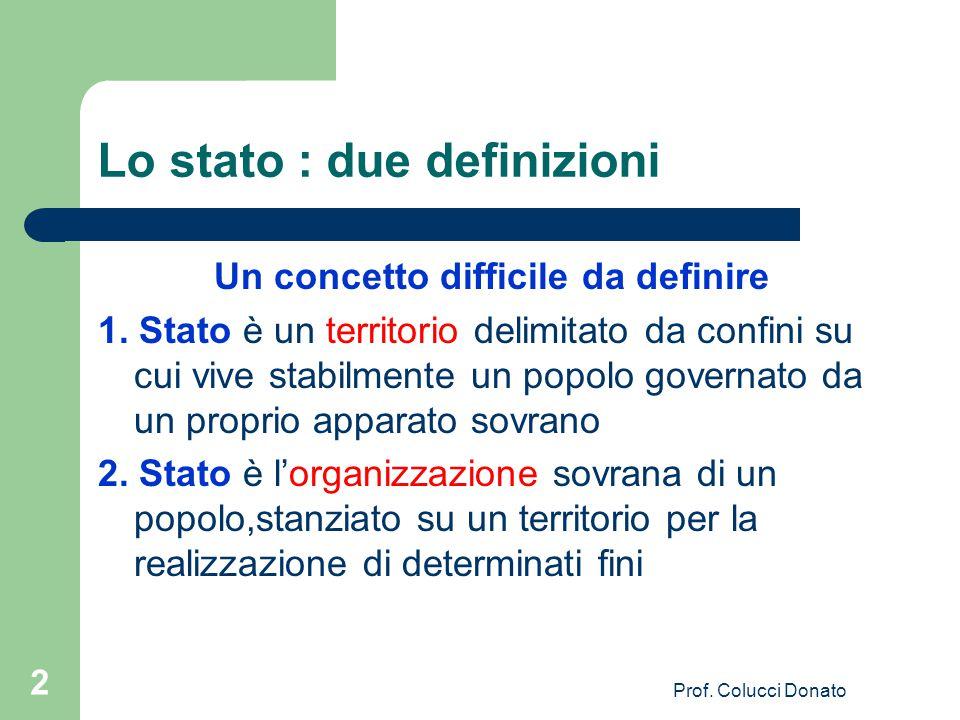 Lo stato : due definizioni