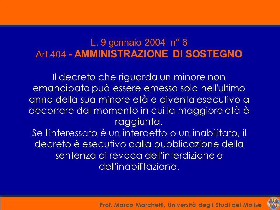 Art.404 - AMMINISTRAZIONE DI SOSTEGNO