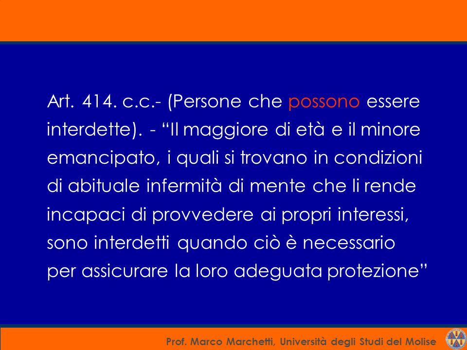 Art. 414. c. c. - (Persone che possono essere interdette)