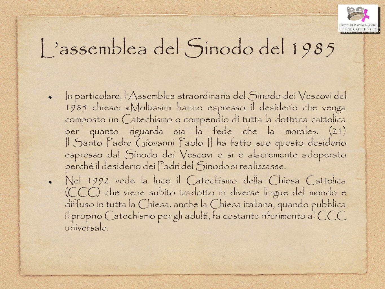 L'assemblea del Sinodo del 1985