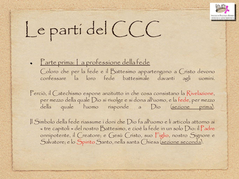 Le parti del CCC Parte prima: La professione della fede