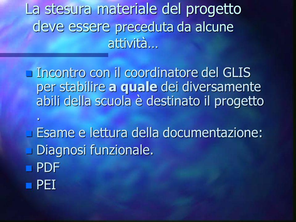 La stesura materiale del progetto deve essere preceduta da alcune attività…