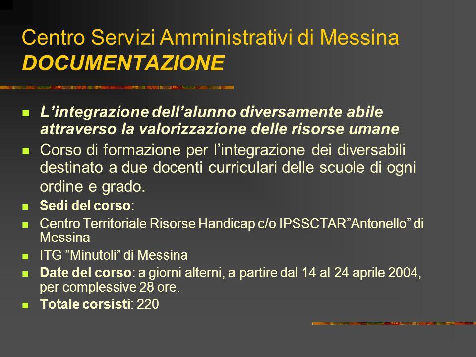 Centro Servizi Amministrativi di Messina DOCUMENTAZIONE