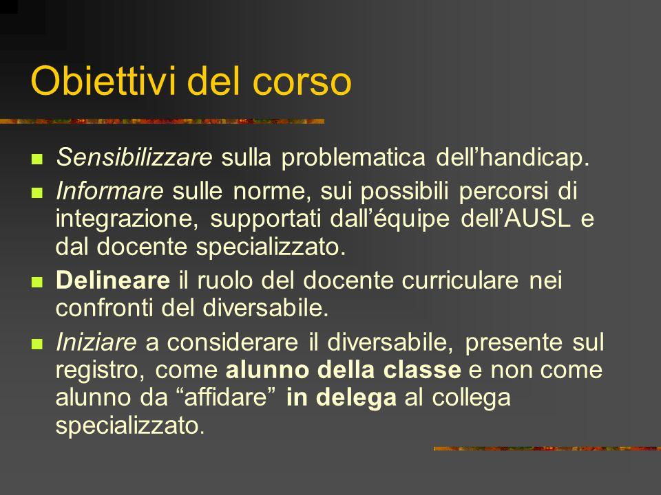 Obiettivi del corso Sensibilizzare sulla problematica dell'handicap.