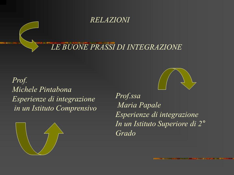 RELAZIONI LE BUONE PRASSI DI INTEGRAZIONE. Prof. Michele Pintabona. Esperienze di integrazione. in un Istituto Comprensivo.
