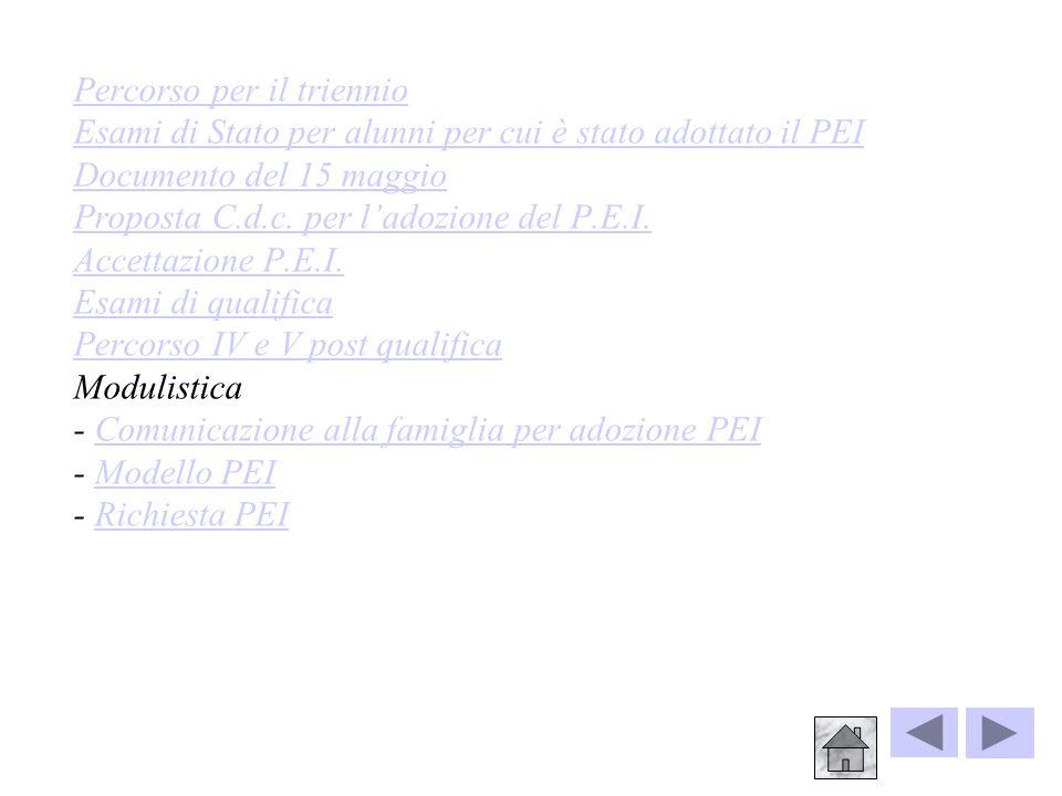 Percorso per il triennio Esami di Stato per alunni per cui è stato adottato il PEI Documento del 15 maggio Proposta C.d.c.