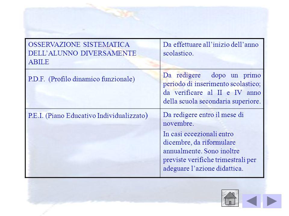 OSSERVAZIONE SISTEMATICA DELL'ALUNNO DIVERSAMENTE ABILE