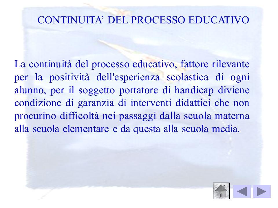 CONTINUITA' DEL PROCESSO EDUCATIVO