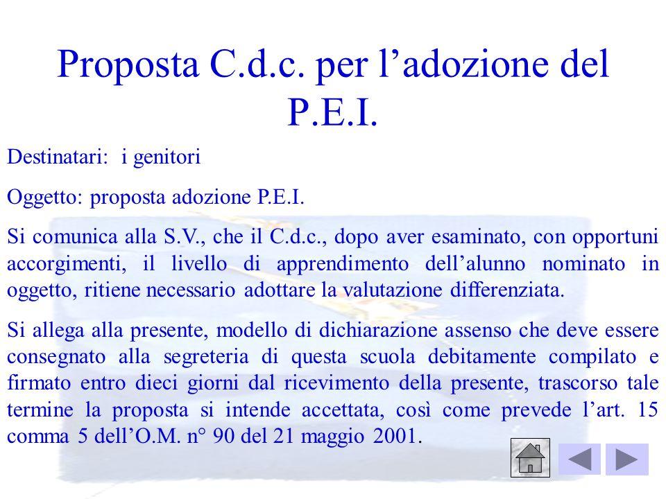 Proposta C.d.c. per l'adozione del P.E.I.