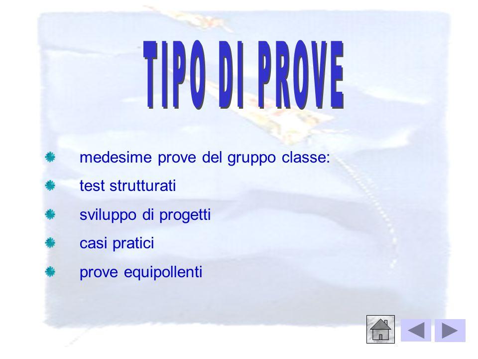 TIPO DI PROVE medesime prove del gruppo classe: test strutturati