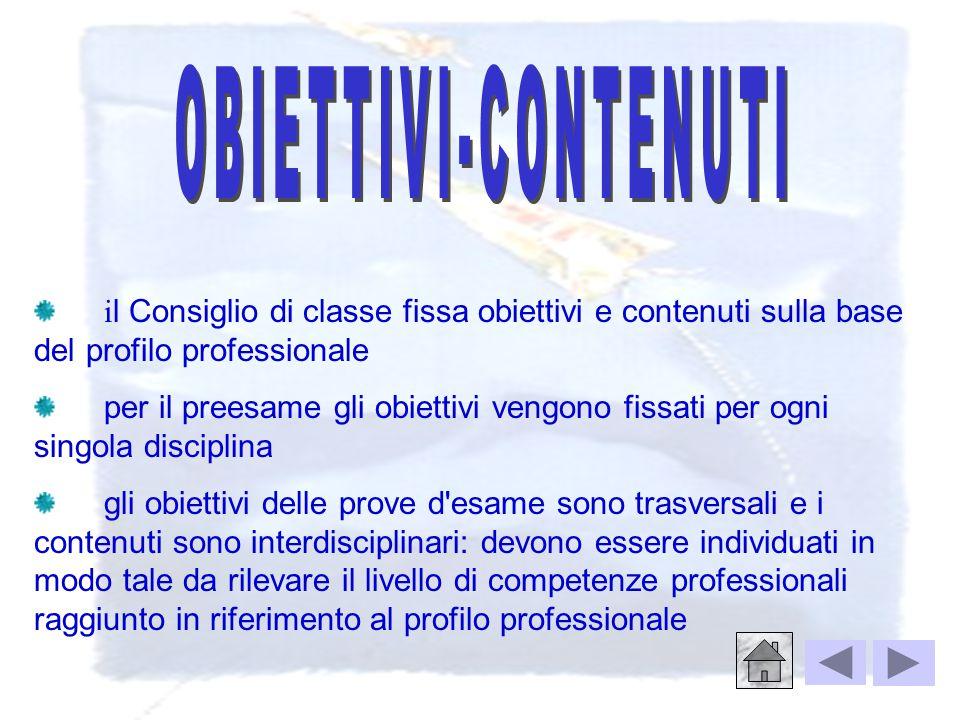 OBIETTIVI-CONTENUTI il Consiglio di classe fissa obiettivi e contenuti sulla base del profilo professionale.