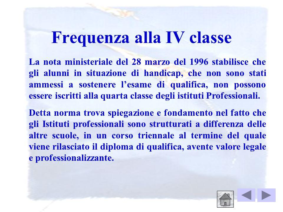Frequenza alla IV classe