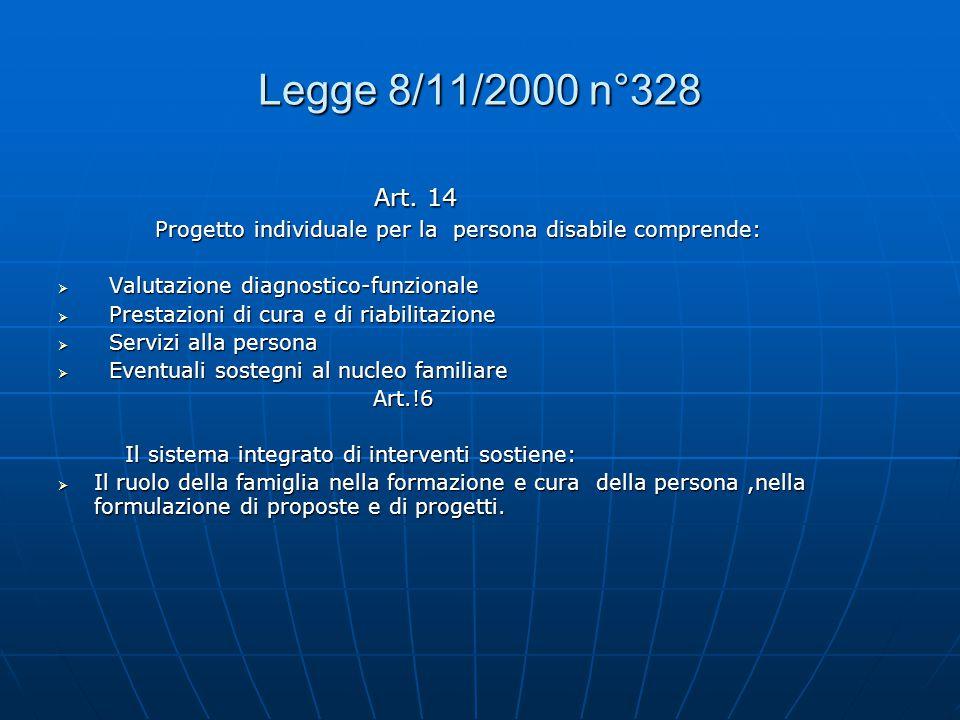 Legge 8/11/2000 n°328 Art. 14. Progetto individuale per la persona disabile comprende: Valutazione diagnostico-funzionale.