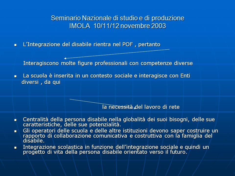 Seminario Nazionale di studio e di produzione IMOLA 10/11/12 novembre 2003