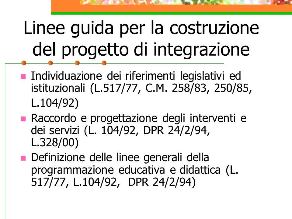 Linee guida per la costruzione del progetto di integrazione