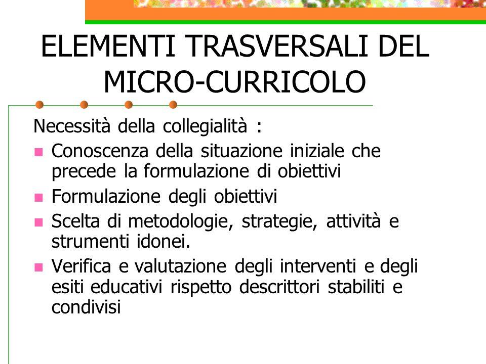 ELEMENTI TRASVERSALI DEL MICRO-CURRICOLO
