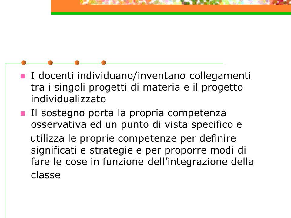 I docenti individuano/inventano collegamenti tra i singoli progetti di materia e il progetto individualizzato