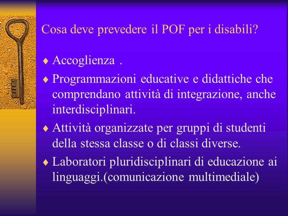 Cosa deve prevedere il POF per i disabili