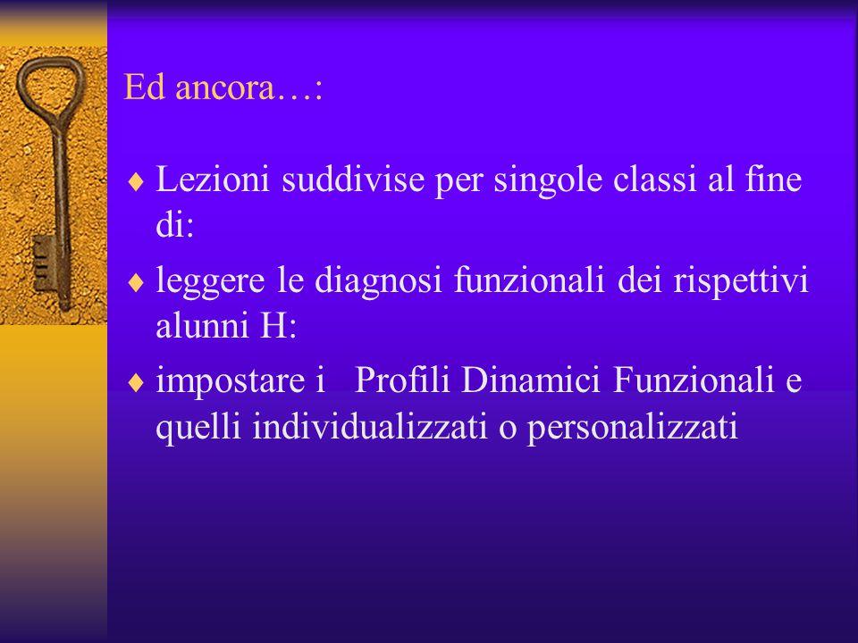 Ed ancora…: Lezioni suddivise per singole classi al fine di: leggere le diagnosi funzionali dei rispettivi alunni H: