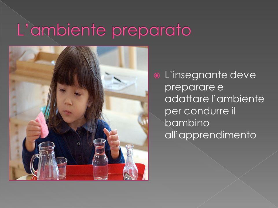 L'ambiente preparato L'insegnante deve preparare e adattare l'ambiente per condurre il bambino all'apprendimento.