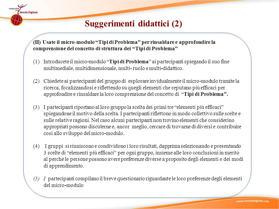 Suggerimenti didattici (2)
