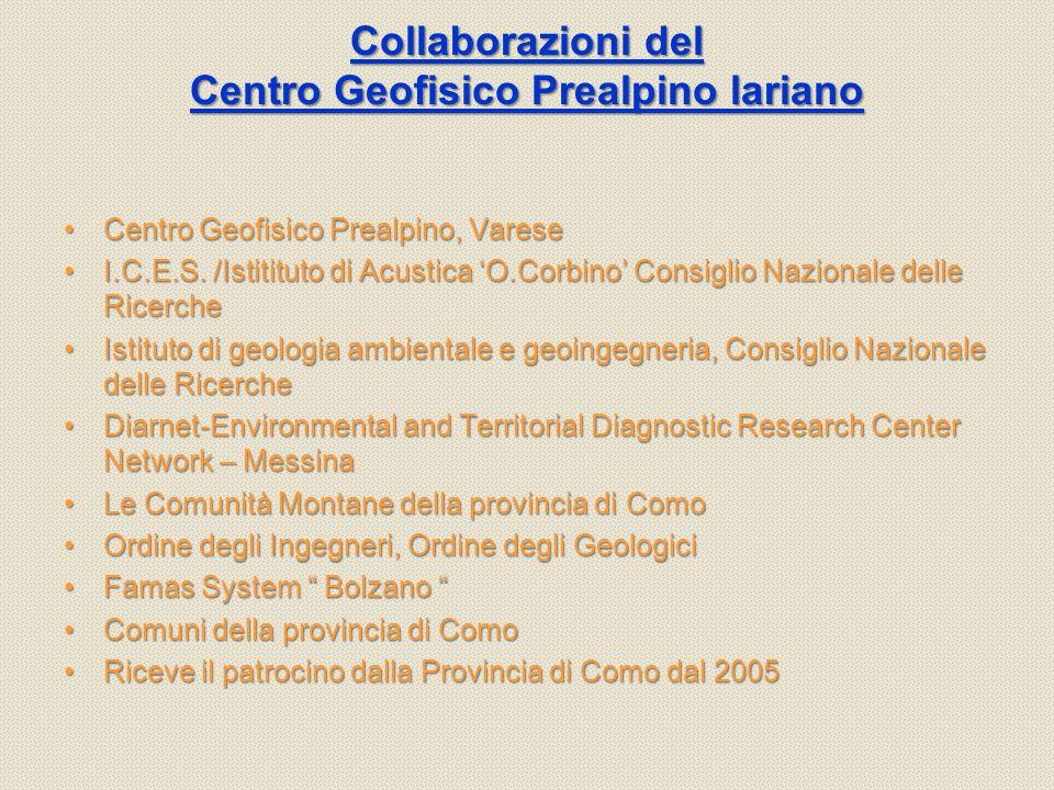 Collaborazioni del Centro Geofisico Prealpino lariano