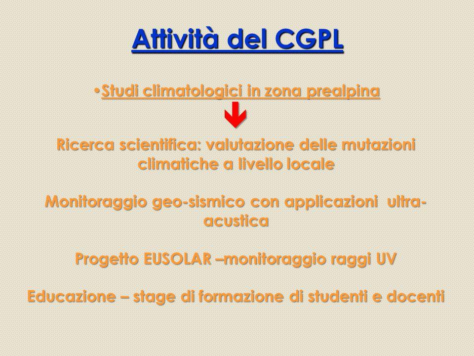 Attività del CGPL Studi climatologici in zona prealpina 