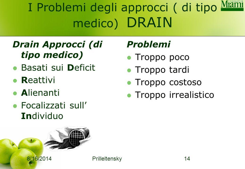 I Problemi degli approcci ( di tipo medico) DRAIN