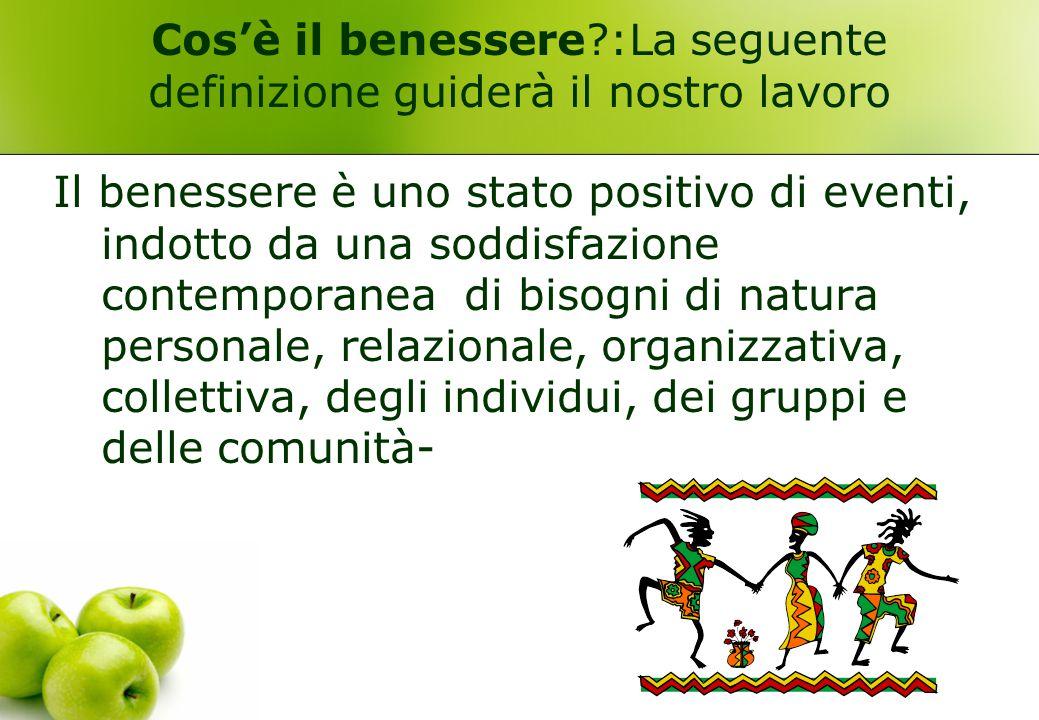Cos'è il benessere :La seguente definizione guiderà il nostro lavoro